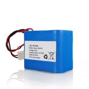 6.4V 12Ah LiFePO4 акумулаторна литиева 26650 32650 батерия с конектор за слънчева светлина